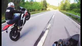 YAMAHA R1M & BMW S1000RR - SHOOTING FLAME || FULL AKRAPOVIC WHEELIES AND FLY BY