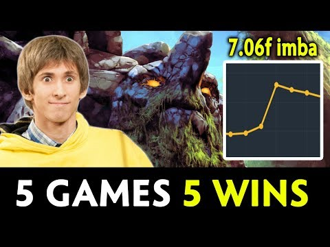 Dendi with 7.06f imba Tiny — 100% winrate so far