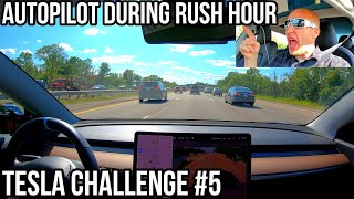 Can Autopilot Drive Me Home in HEAVY Rush Hour Traffic?!   TESLA CHALLENGE #5   Update 2019.28.2  