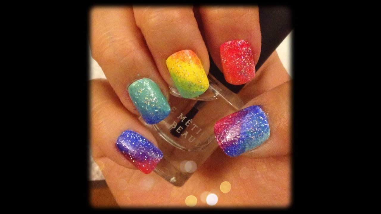 Rainbow Ombre Nails Rainbow Ombre Nail Tutorial