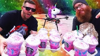 DROP TESTING 10 UNICORN FRAPPUCCINOS FROM 100 FT (STARBUCKS)