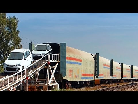 CAR carrier UNLOADING : INDIAN RAILWAYS CAR Wagons