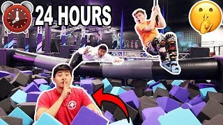 24 HOUR OVERNIGHT CHALLENGE IN TRAMPOLINE PARK! (KICKED OUT)