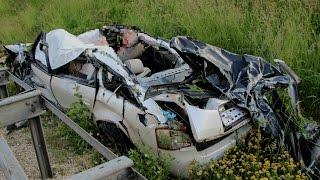 Tödlicher Crash – Raser(35) fliegt mit Audi A6 rund 200m durch die Luft – Tachonadel  bei 170 kmh