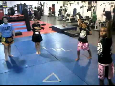 Childrens thai boxing Class Warm ups. Image 1