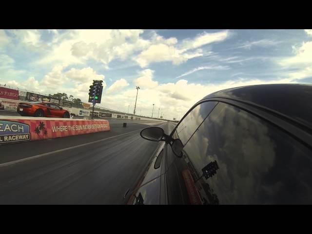 2012 McLaren MP4-12C vs 2010 Porsche 911 Turbo S Drag Racing Heads up 1/4 Mile GoPro