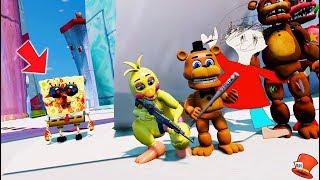 Funny Animatronics Hide Underwater from Scary Spongebob exe! (GTA 5 Mods FNAF RedHatter)