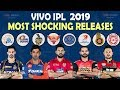 IPL 2019   Most Shocking Releases   All Teams Released Players List   CSK MI DD SRH RCB RR KKR KXIP