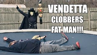 FAT MAN REACTS TO CHALLENGE FROM VENDETTA TRAMPOLINE BACKYARD WRESTLING MATCH