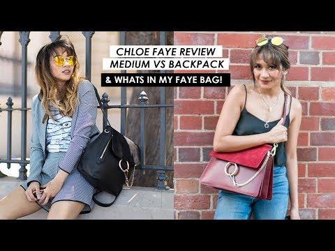 WHAT'S IN MY BAG   CHLOE FAYE MEDIUM REVIEW + COMPARISON FAYE BACKPACK WEAR & TEAR