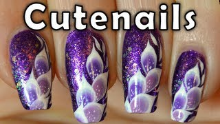 One stroke exotic feathers nail art tutorial by cute nails
