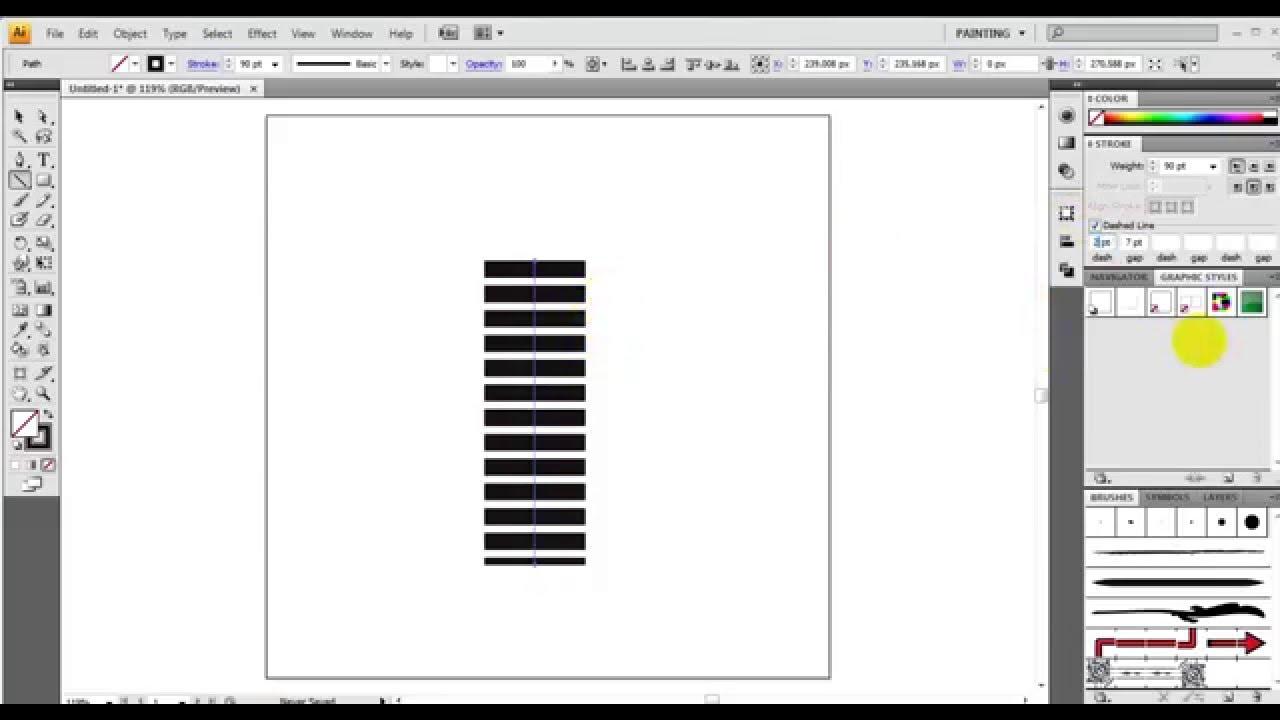 Как сделать штриховую линию в иллюстраторе