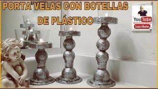 PORTA VELAS CON BOTELLAS DE PLASTICO