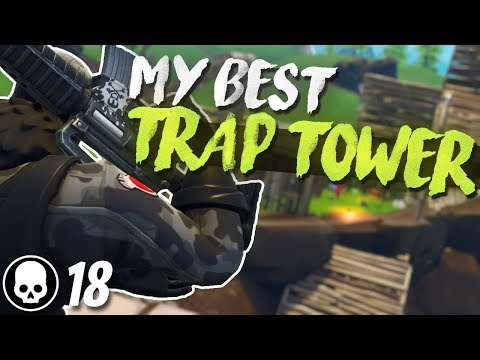 BEST TRAP TOWER WIN! 18 Kill Solo Gameplay (Fortnite Battle Royale)