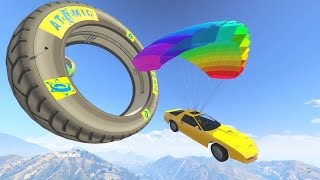 CAR PARACHUTE OBSTACLE COURSE! - GTA 5 Funny Moments #674