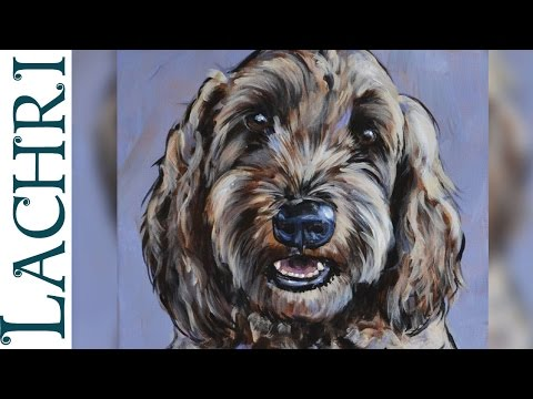 Speed Painting impressionistic dog portrait in acrylic - Demo by Lachri