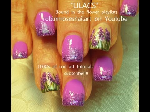 Easy Lilac Flower Nail art w/ Lavender Glitter LOVELY!