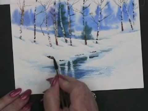 Painting watercolor winter landscape cards youtube for Watercolor scenes beginners