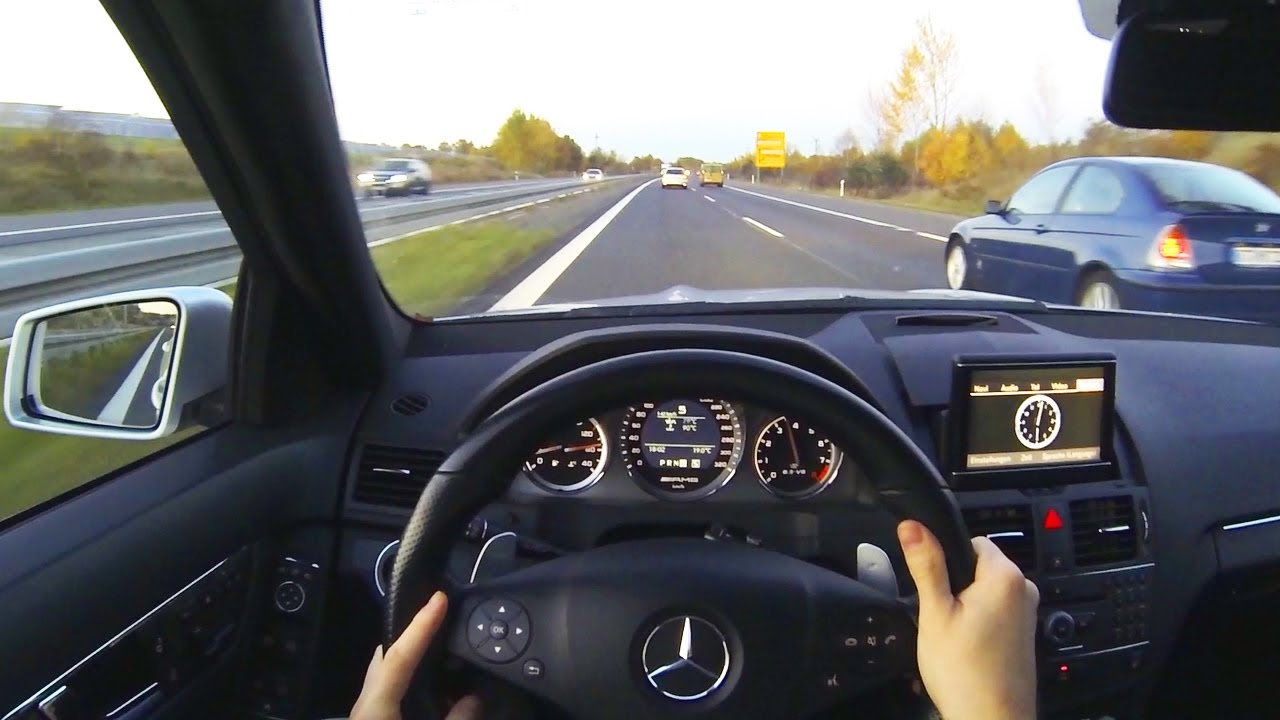Mercedes C63 Amg Onboard Pov Drive On Autobahn Highway