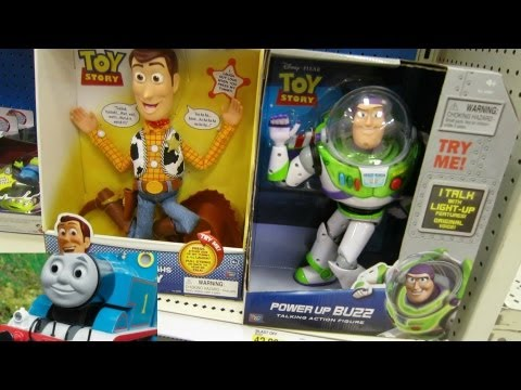 Laughing Woody, Talking Buzz Lightyear, Thomas & Friends in the Store