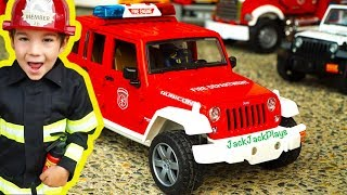 Bruder Trucks Surprise Toy Unboxing: Fire Engine Jeep - Playing with Toys