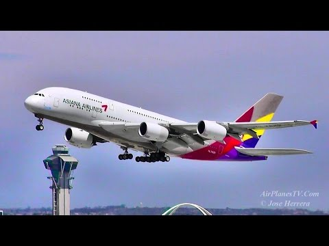 Asiana Airlines A380 Departing LAX