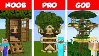 Minecraft NOOB vs PRO: Jungle Tree House Build Challenge in Minecraft / Animation