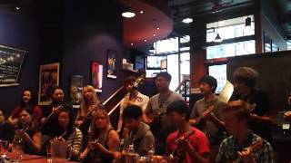 Langley Ukukele Choir at Boston Pizza Granville in Halifax N.S.