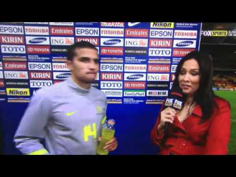 Tim Cahill hits on female Reporter