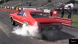 Rare 426 Hemi Road Runner vs Olds 442 W-30 - 1/4 Mile Drag Race Video- Road Test TV