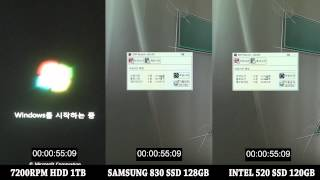 Booting Test / 7200RPM HDD 1TB vs SAMSUNG 830 SSD 128GB vs INTEL 520 SSD 120GB