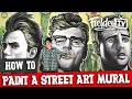 How to paint a street art mural with acrylic inks and brushes