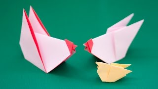 How to origami birds. Chick Cock and Hen. Origami for kids