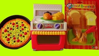 Toy Velcro Cutting Food PlayDoh Oven Cooking Baking Pizza Bread Criossant Toy Set Unboxing