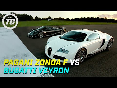 Pagani Zonda F vs Bugatti Veyron drag race - Top Gear - BBC Video