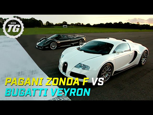 pagani zonda f vs bugatti veyron drag race top gear bbc
