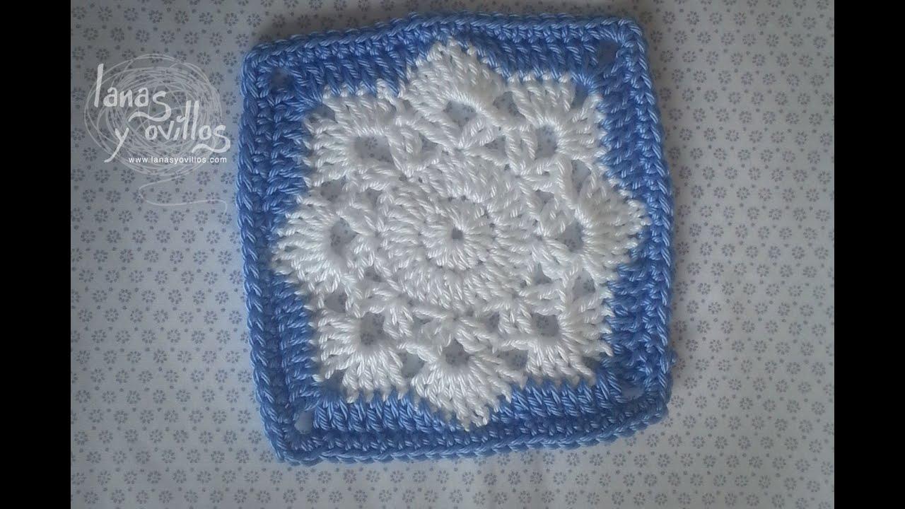Free Crochet Pattern For Snowflake Granny Square : Tutorial Snowflake Granny Square - YouTube