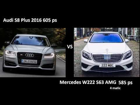 Audi S8 Plus 2016 vs Mercedes S63 AMG w222/ - 0-250 kmh