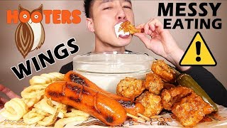 ⚠️ MESSY EATING • HOOTERS 🦉🌶 SPICY WINGS + 🌶 SPICY SAUSAGE LINKS • mukbang • LESS TALKING 🤫