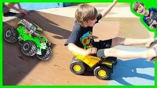 Monster Trucks and Dump Trucks for Kids at the Skate Park!