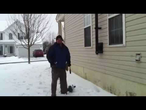 Cleaning pellet stove pipe with a leaf blower
