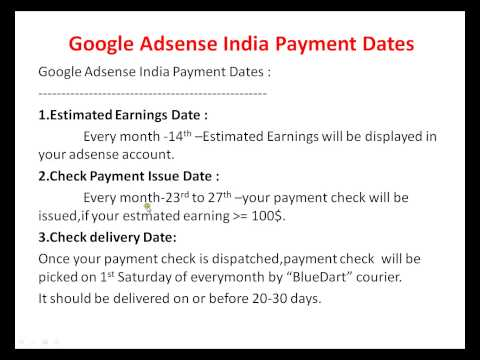 GOOGLE ADSENSE INDIA PAYMENT DATES