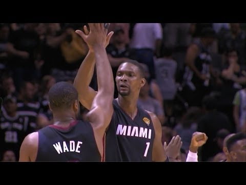 Dwyane Wade & Chris Bosh Full Highlights 2014 Finals G2 at Spurs - 36 Pts, 10 Rebs