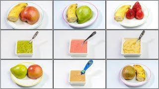 5 Fruit Puree Combinations for 6 months to 18 months old Babies | Homemade Baby Food Recipes Stage 2
