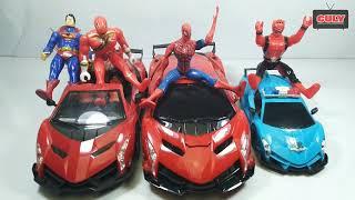 Đồ chơi siêu nhân mãnh thú lái siêu xe cùng anh người nhện đẹp trai