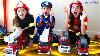 Costume Pretend Play Firefighters, Fishing, Police Skit - Playing Floor is Lava Again
