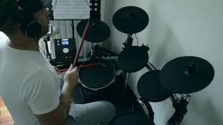 Back in black - electronic drum cover (after 2 months of study) - Alesis Command Kit
