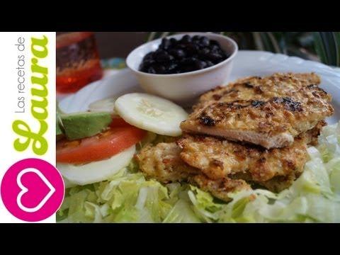 Milanesa de Pollo ¡Sin freír! Las Recetas de Laura Comida saludable
