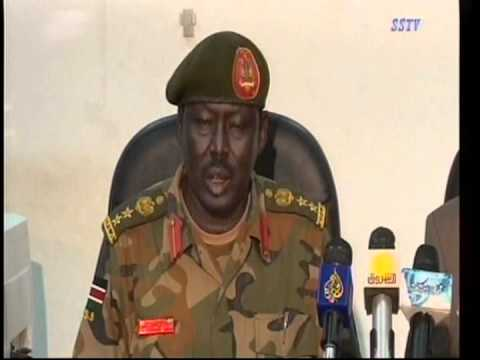 Military Spokesman Philip Aguer brief the media on in Juba, South Sudan