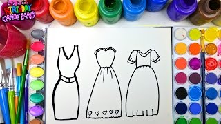 Coloring Page of Beautiful Dresses to Color with Watercolor for Children to Learn Colors 1